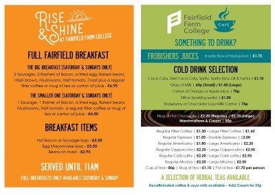 Fairfield Farm Cafe Breakfast Menu