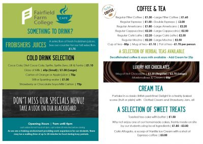 Fairfield Farm Cafe Main Menu