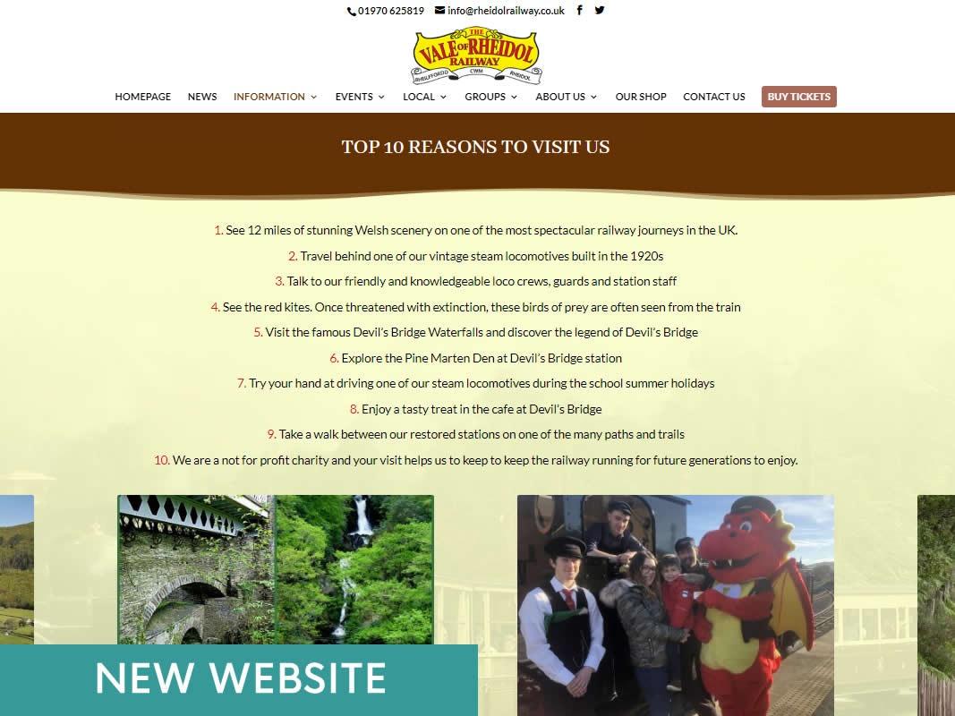 Rheidol Railway Website Design INOV8 Marketing New Website