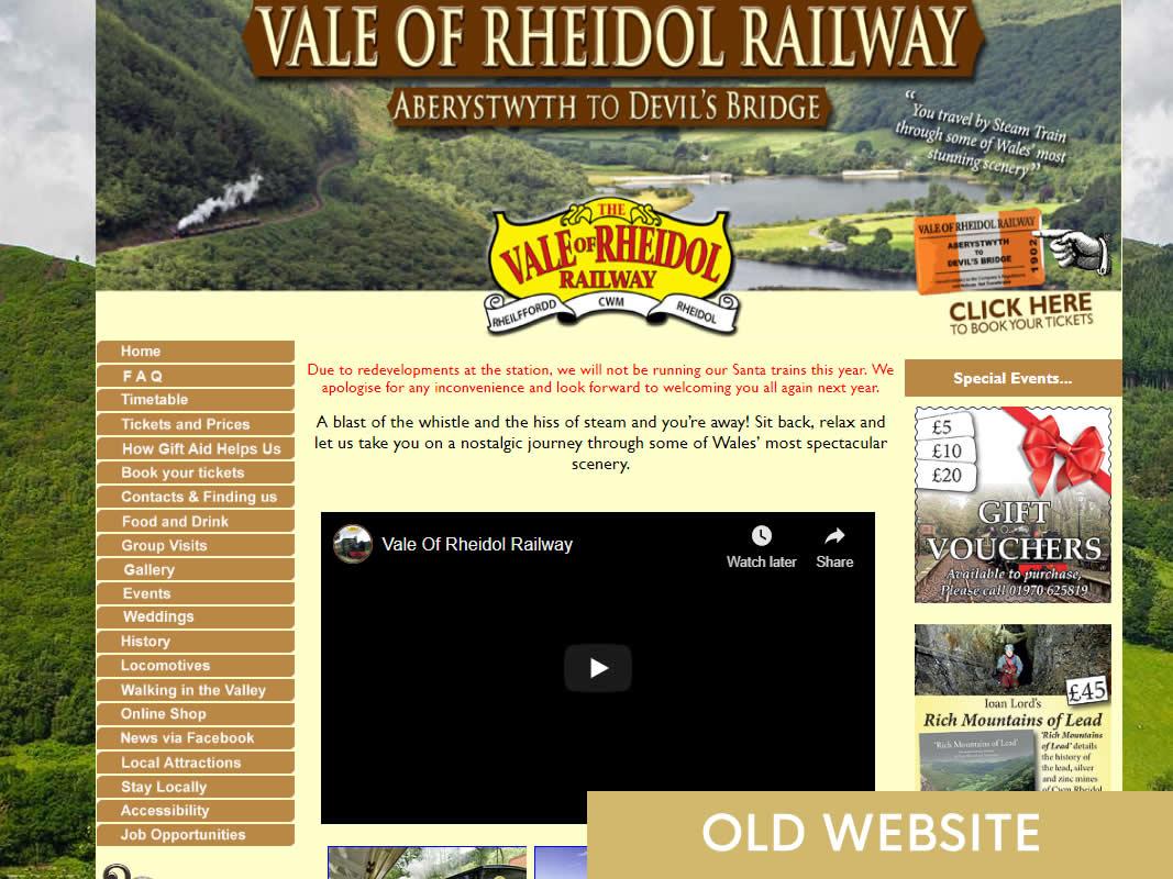 Rheidol Railway Website Design INOV8 Marketing Old Website