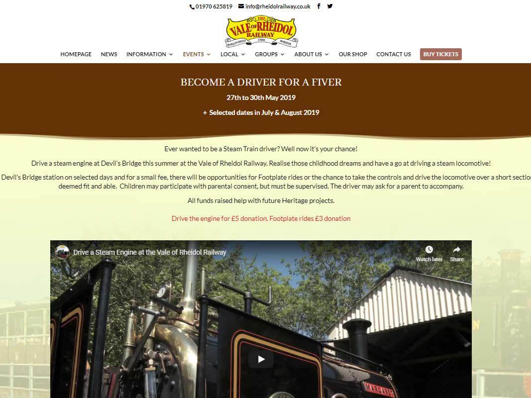 Rheidol Railway Website Design INOV8 Marketing Website Events