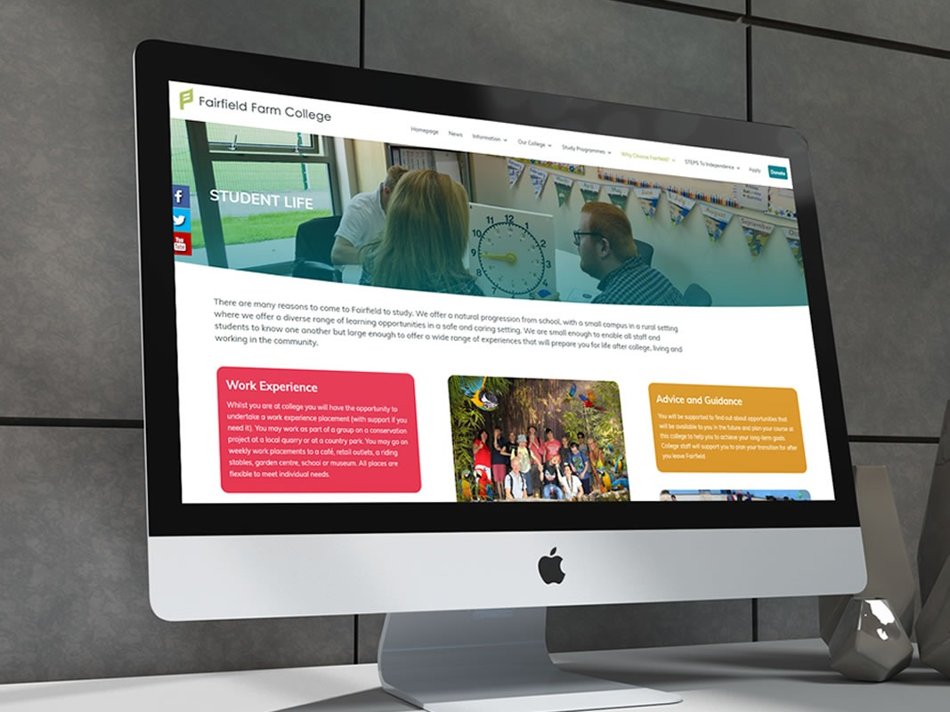 Fairfield Farm College Website Design INOV8 Marketing Main
