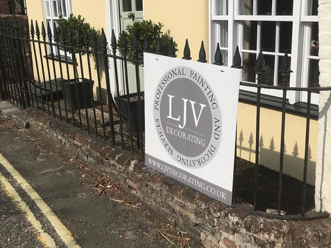 LJV Decorating Branding INOV8 Marketing Advertising Board