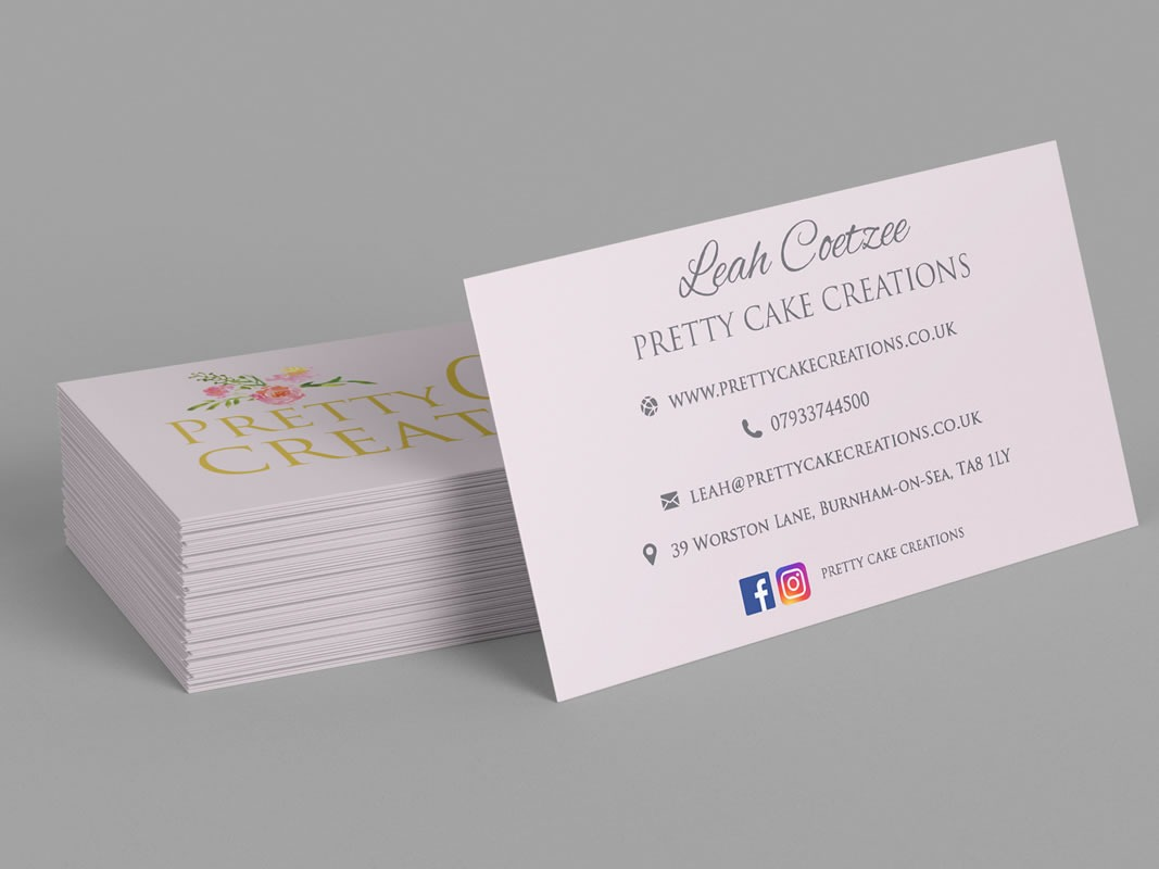 Pretty Cake Creations Branding INOV8 Marketing Cards Back
