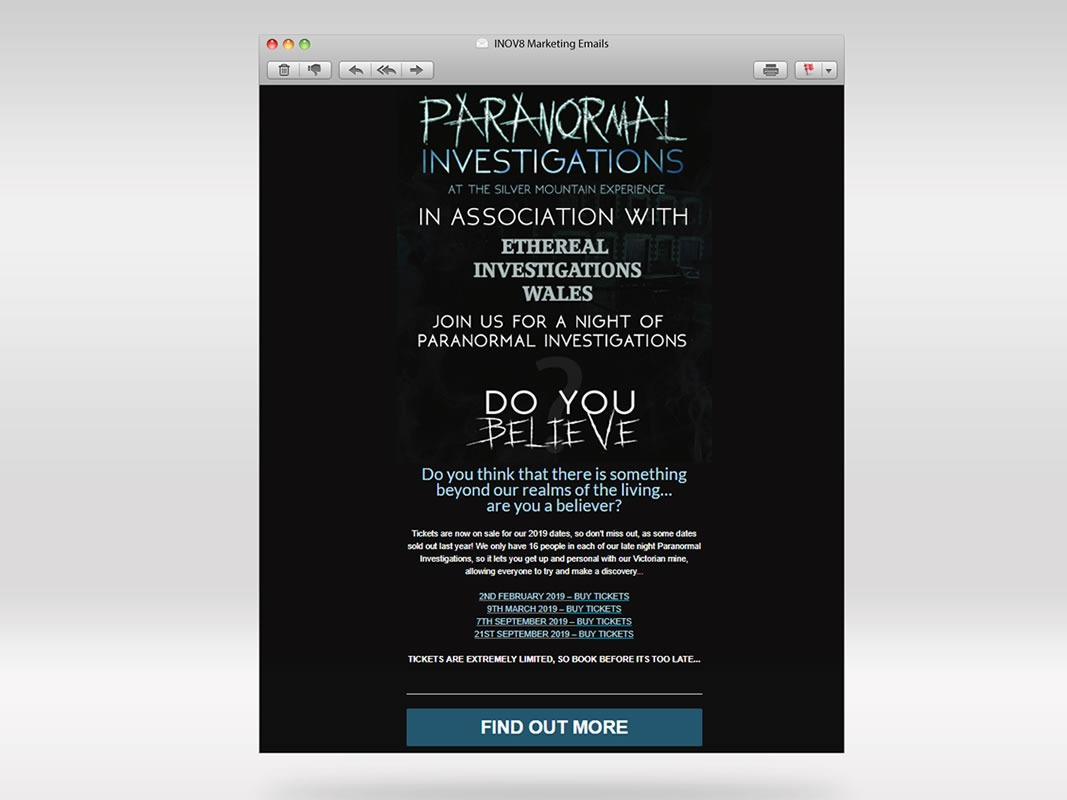 Silver Mountain Experience Email Marketing INOV8 Marketing Paranormal 1