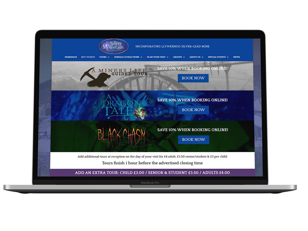 The Silver Mountain Experience Website Design INOV8 Marketing Laptop