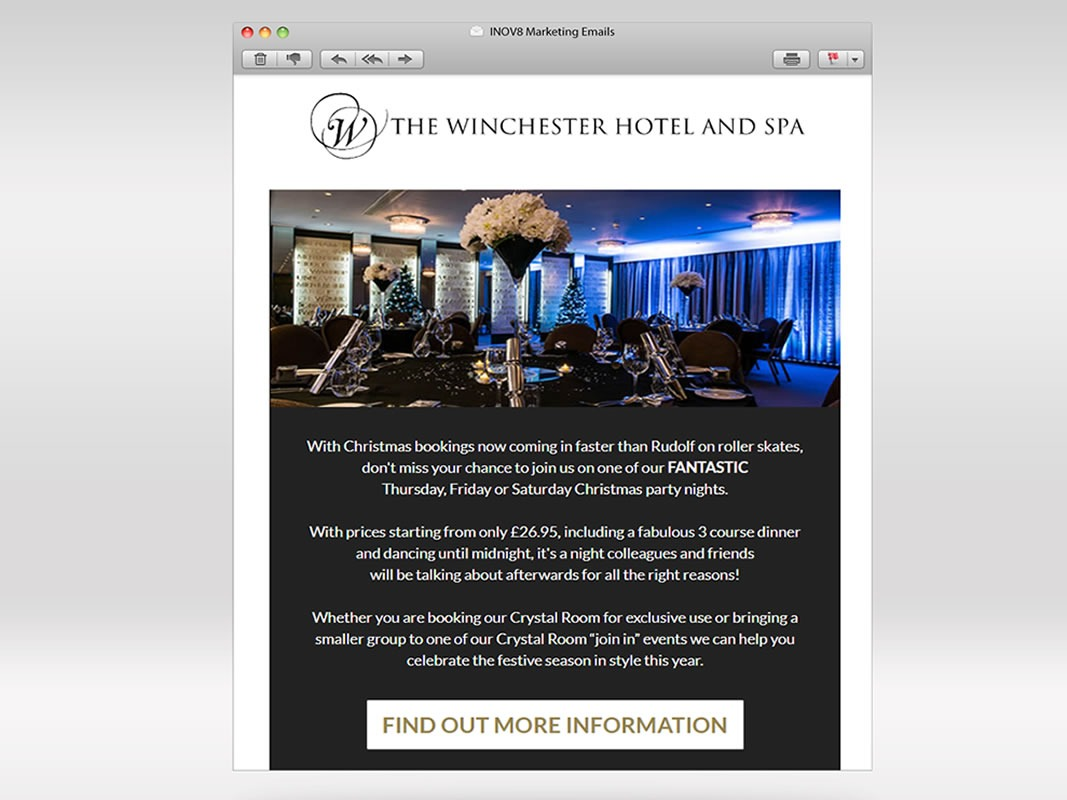 The Winchester Hotel and Spa Email Marketing INOV8 Marketing Christmas Campaign