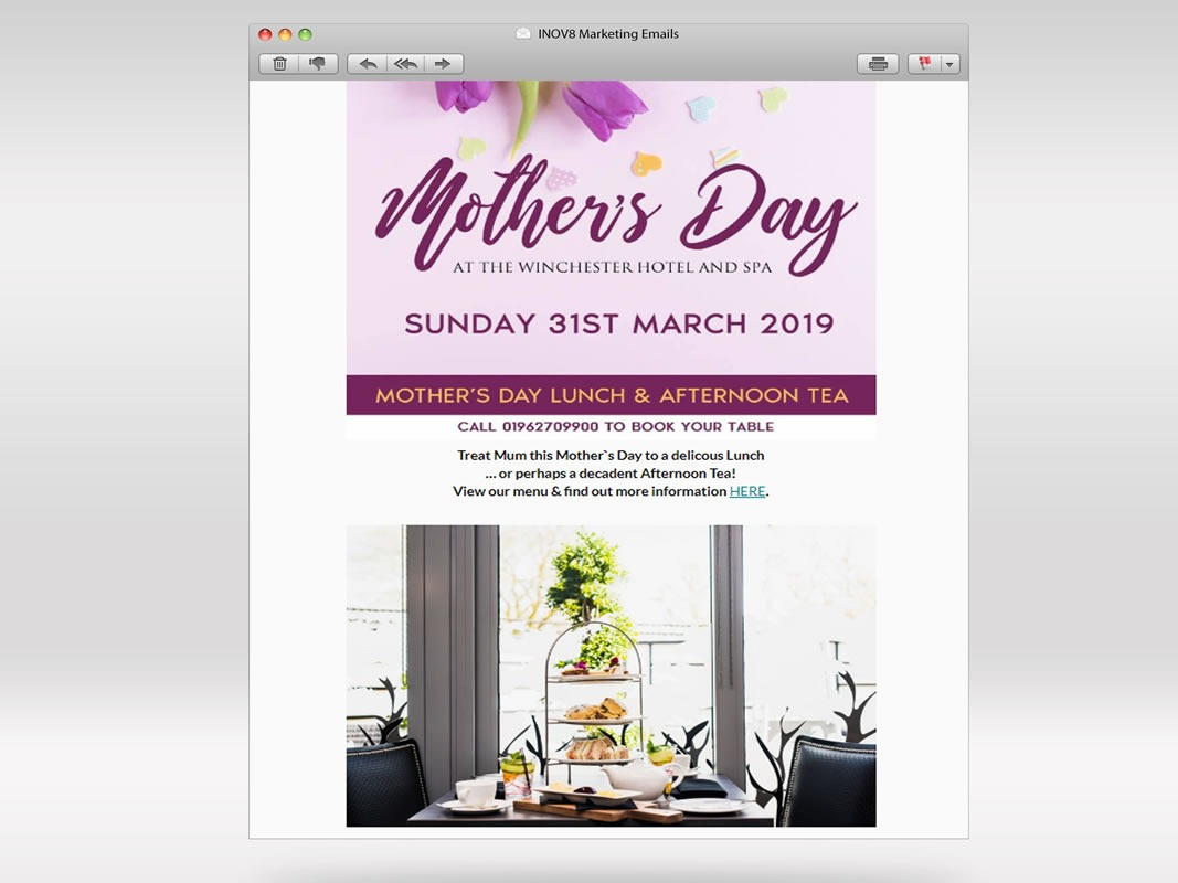 The Winchester Hotel and Spa Email Marketing INOV8 Marketing Mothers Day