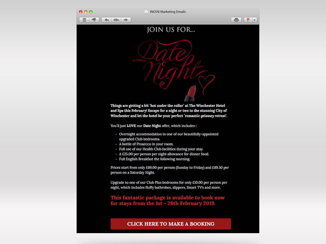 The Winchester Hotel and Spa Email Marketing INOV8 Marketing Valentines