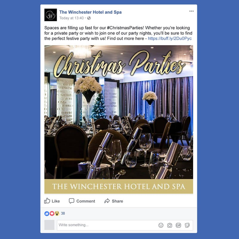 The Winchester Hotel and Spa Social Media Management INOV8 Marketing Christmas Event