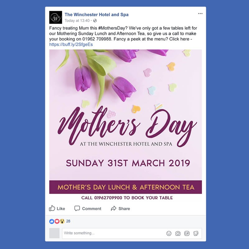 The Winchester Hotel and Spa Social Media Management INOV8 Marketing Mothers Day