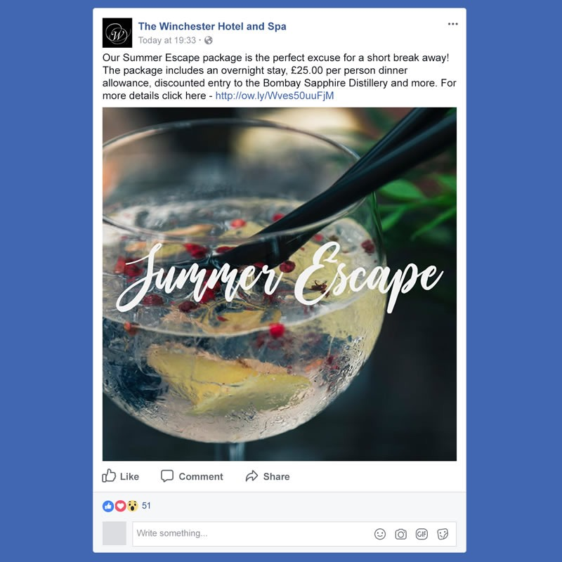 The Winchester Hotel and Spa Social Media Management INOV8 Marketing Summer Escape